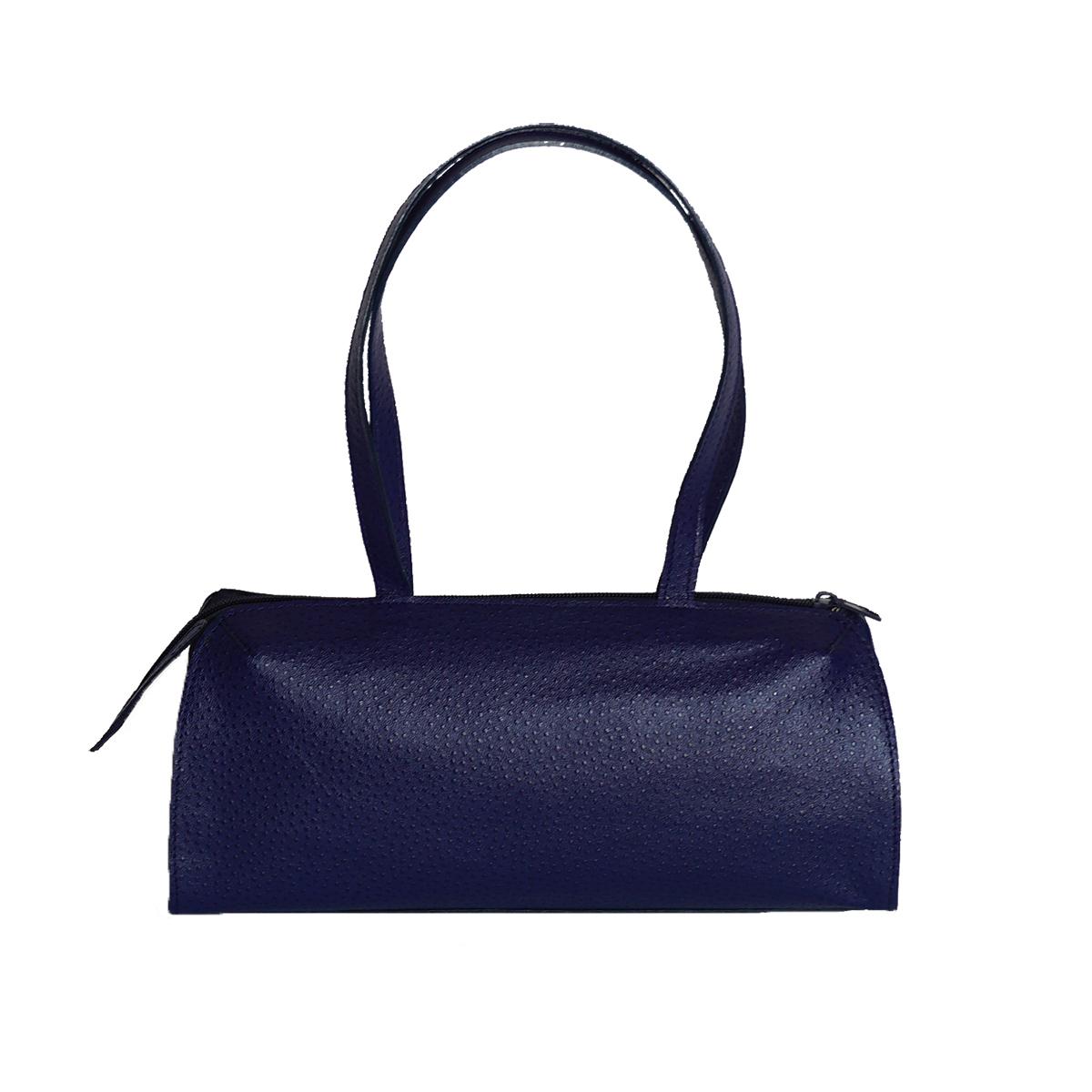 Petit sac bleu roi en cuir façon autruche