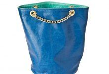 Sac seau bleu/turquoise cuir souple.