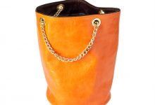 Sac seau orange/chocolat cuir souple