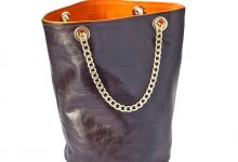 Sac seau chocolat/orange en cuir souple