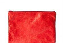 Grande pochette zippée rouge en cuir souple