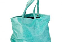 Grand sac cabas turquoise en cuir souple