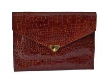 Grande pochette enveloppe marron en cuir façon croco