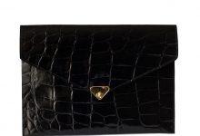 Grande pochette enveloppe noire venis cuir façon croco