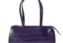 Petit sac violet en cuir façon croco