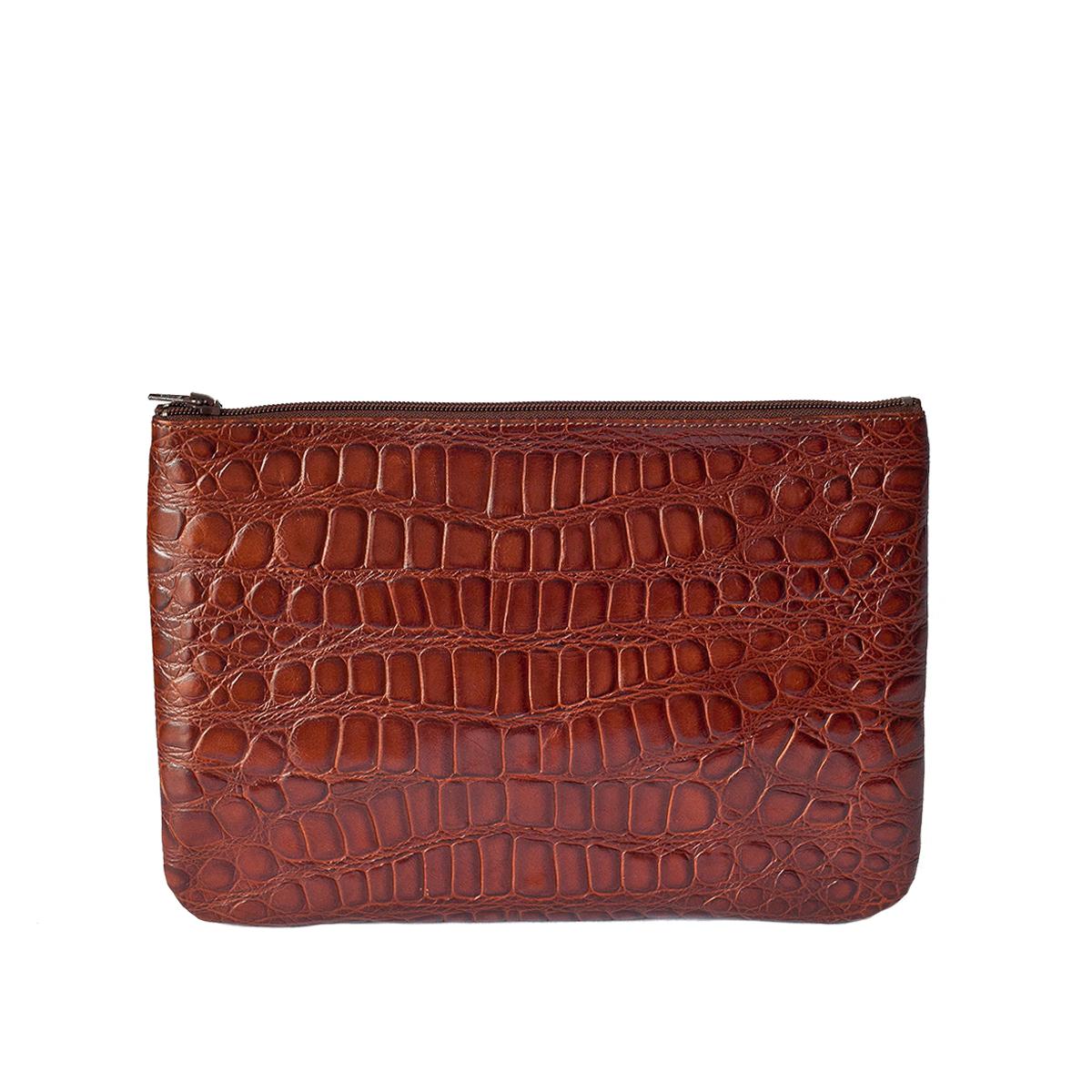 Grande pochette marron en cuir façon croco