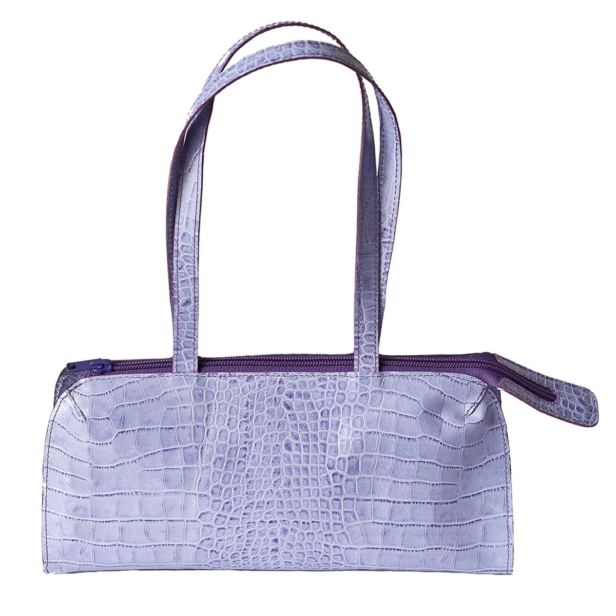 Petit sac lilas en cuir façon croco