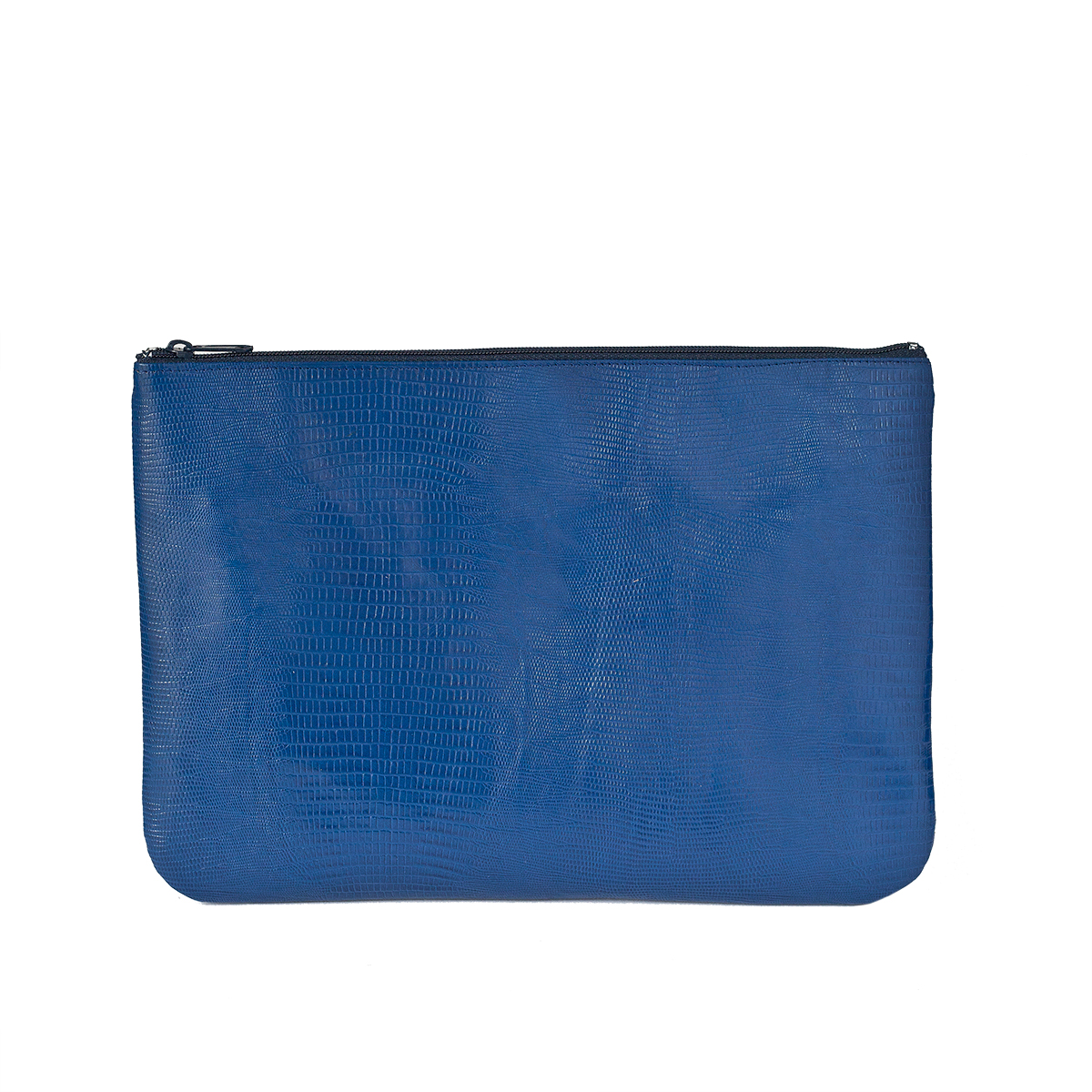 Grande pochette zippée bleu roi en cuir façon lézard