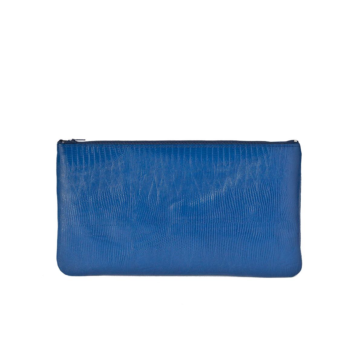 Petite pochette zippée bleu roi en cuir façon lézard