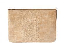 Grande pochette zippée beige en cuir façon croco