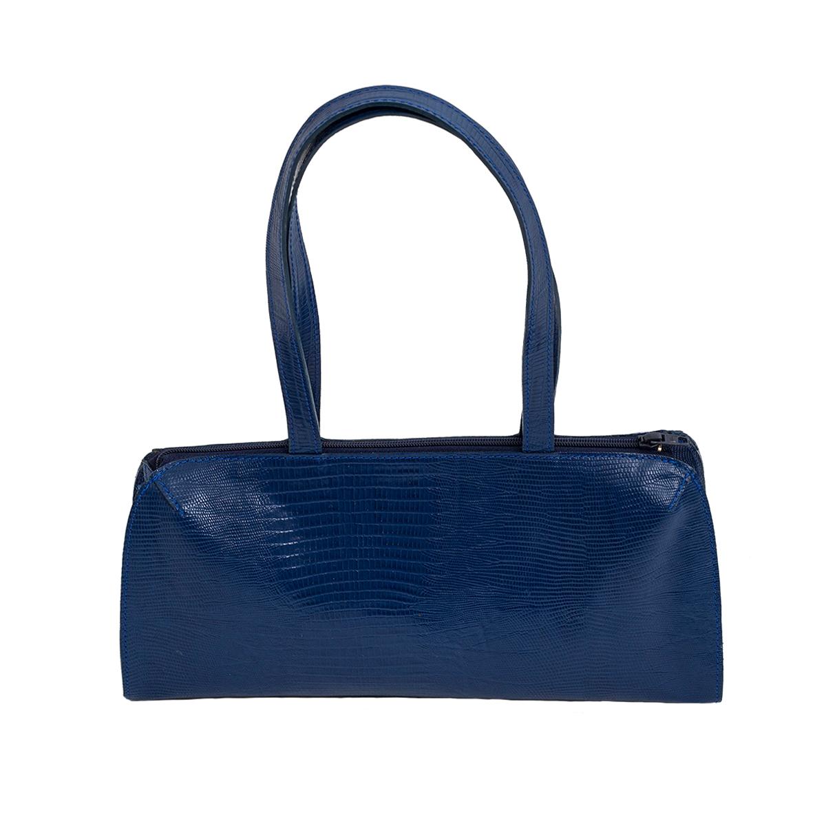 Petit sac bleu roi en cuir façon serpent.