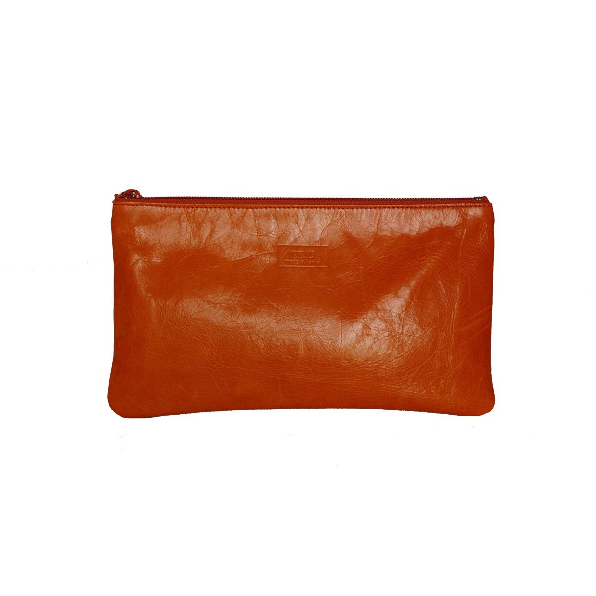 Petite pochette zippée orange en cuir